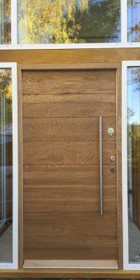 Modern Big Doors Wood Veneer with Glazed Windows Security Level 2
