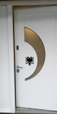 Security Doors With Fingerprint Locking System and Custom Made Albanian Double Headed Eagle