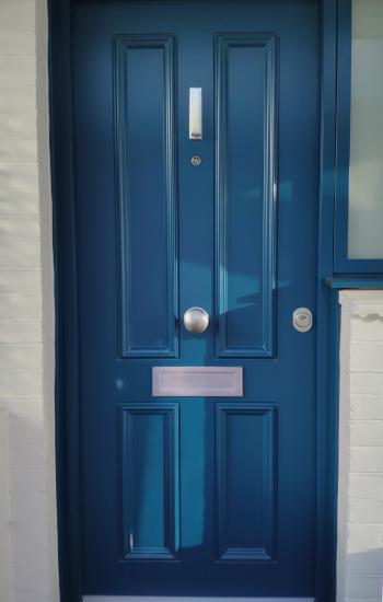 Blue Security Doors Installed in Wood Green