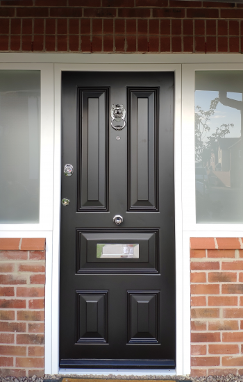 Black Traditional Security Doors Level 2 with Lion Knocker