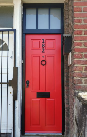 Security Doors Knights Mark Red Colour Black Frames