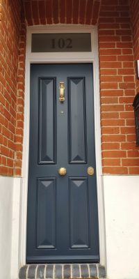 Bespoke Design Blue Security Doors Installed in Chingford