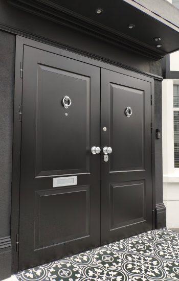 Black Double Security Doors installed in London