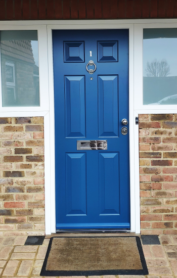 Blue Colour 6 Panel Security Doors With Side Windows by Knights Mark