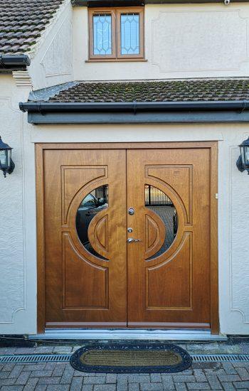 Knights Mark Security Double Doors in Veneer Finish Golden Oak