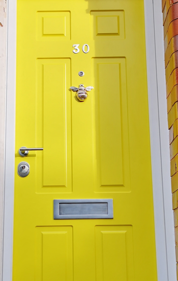 Yellow Security Doors with Bumble Bee Knocker Knights Mark