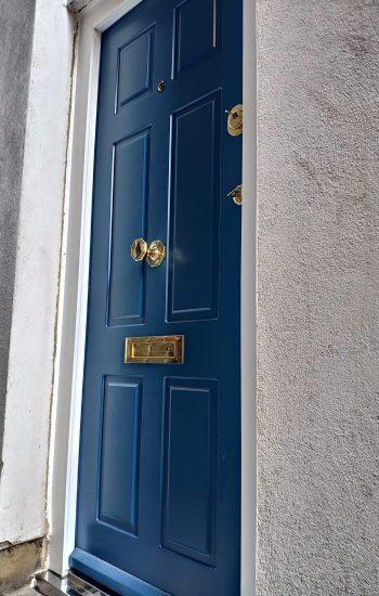 Blue Security Doors Brass Door Furniture