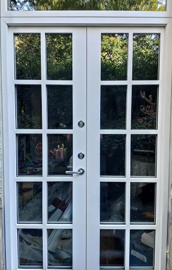 Security French Doors White Colour with Glazing Bars
