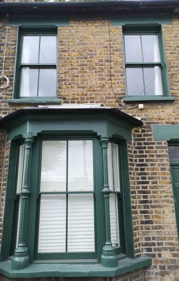 Timber Sash Windows Green Colour Knights Mark_