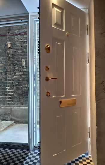White Colour Security Doors with Brass Furniture Additional Shoot Bolts