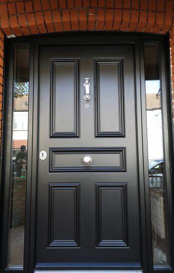 Black Traditional Security Doors 5 Panel Design
