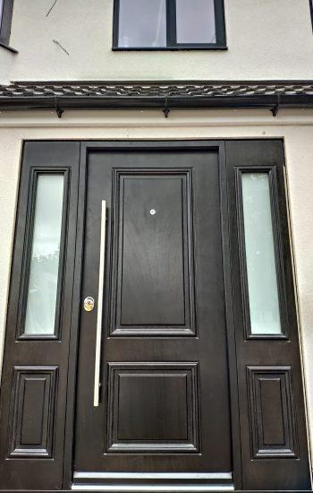 Black Veneer Okoume Finish Security Doors Contemporary Design