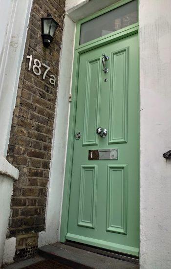 Green Colour Security Door with Top Light 4 Panel Design