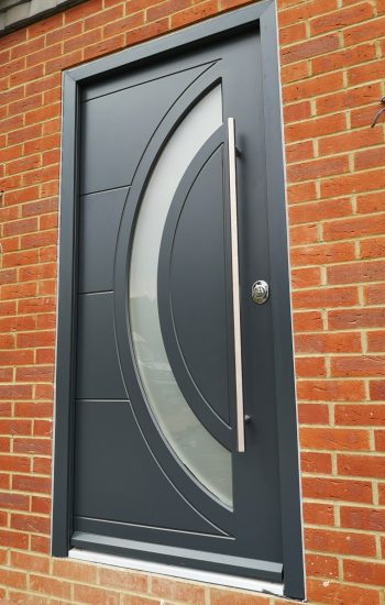 Modern Design Security Doors with Moon Shape Glass