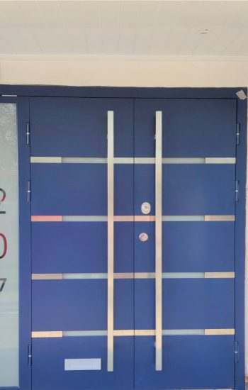 Blue Colour Modern Design with Aluminium Strips Security Doors