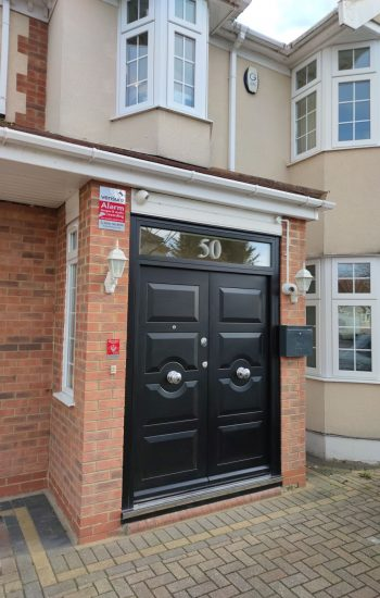 Double Traditional Security Doors with Frosted Door Number
