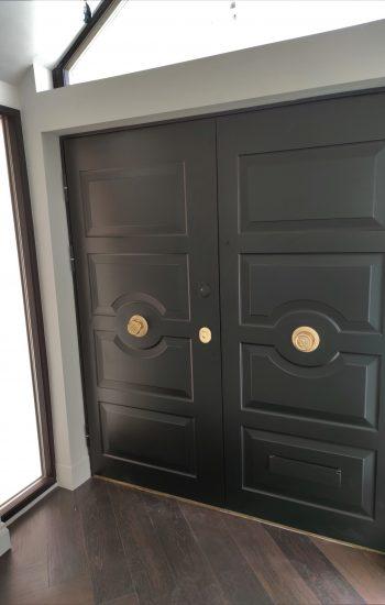 Double Traditional Security Doors with Sandringham Door Furniture