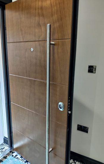 Golden Oak Finish Modern Security Door