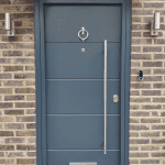 Modern Security Doors with Frosted Top Glazing