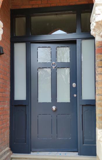 Replicated Traditional Security Doors in Dark Blue
